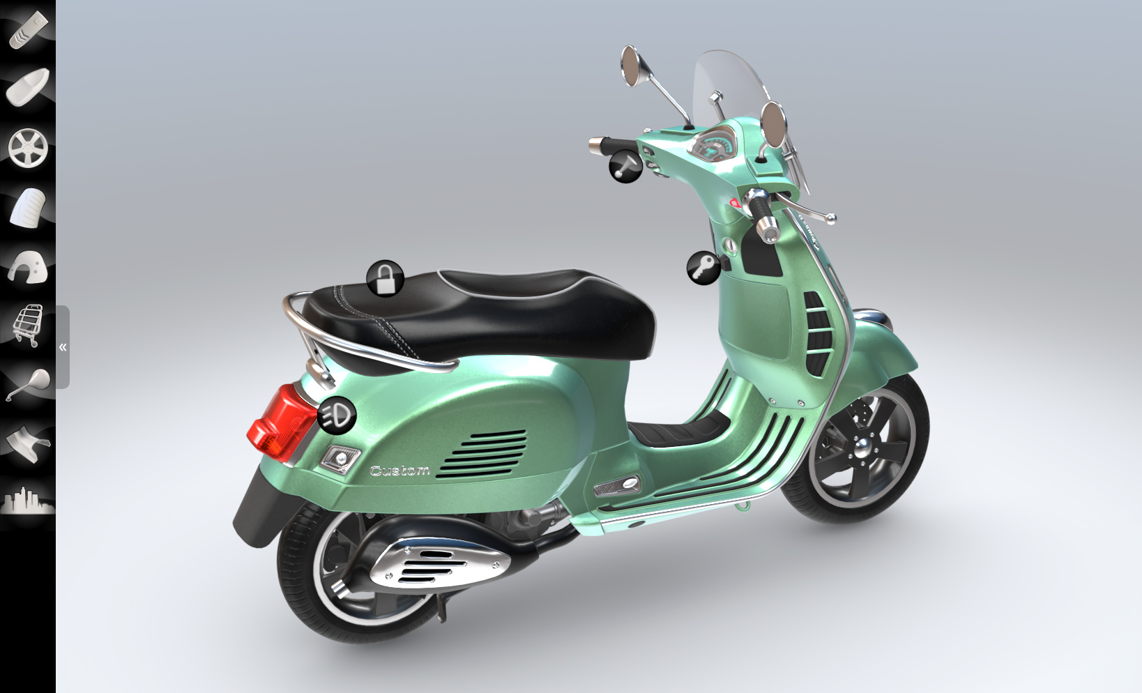 Verge3D电动摩托车配置器案例